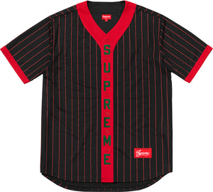 Supreme 18F/W Vertical Logo Baseball Jersey Red