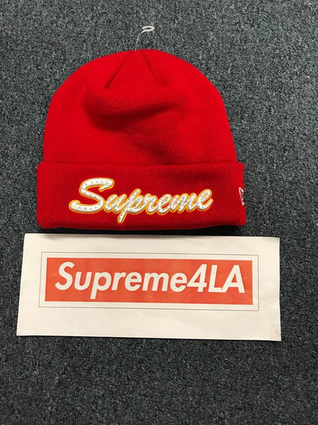 Supreme 18F/W New Era Script Beanie Red