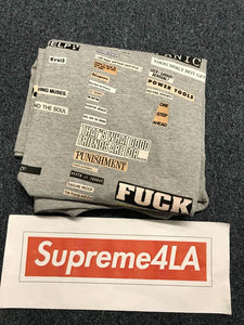 Supreme 18F/W Cutouts Tee Heather Grey