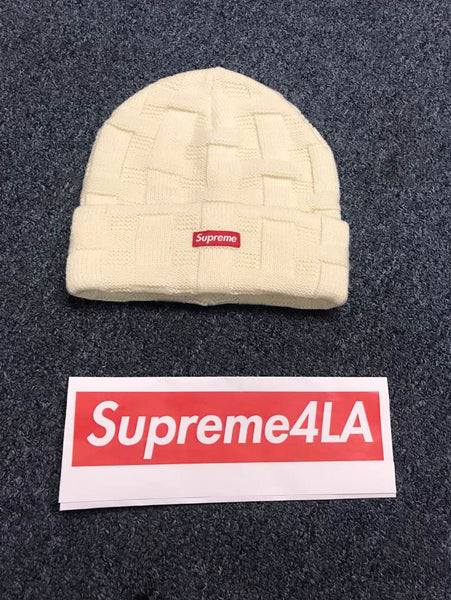 Supreme 19FW Basket Weave Beanie Natural