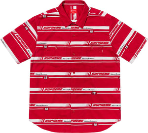 Supreme 18F/W Striped Racing Work Shirt Red