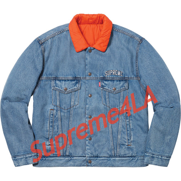 Supreme 18F/W Levi's Quilted Reversible Trucker Jacket Blue