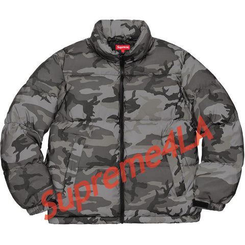 Supreme 18F/W Reflective Camo Down Jacket Snow Camo