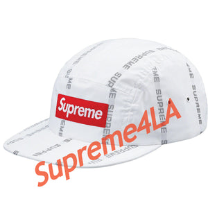 Supreme 18F/W Reflective Text Camp Cap White