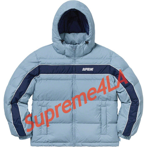Supreme 18F/W Stripe Panel Down Jacket Light Blue