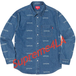 19S/S Logo Denim Shirt Blue