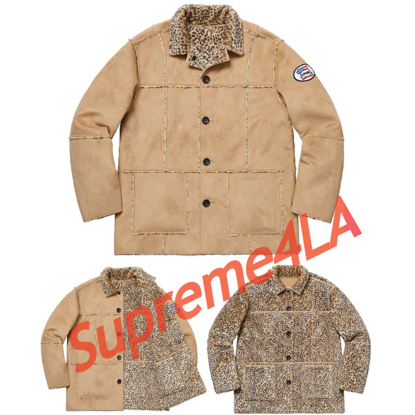 19S/S Reversible Faux Suede Leopard Coat Tan