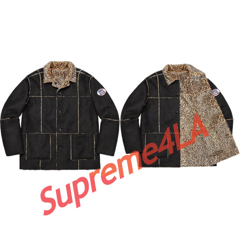 19S/S Reversible Faux Suede Leopard Coat Black