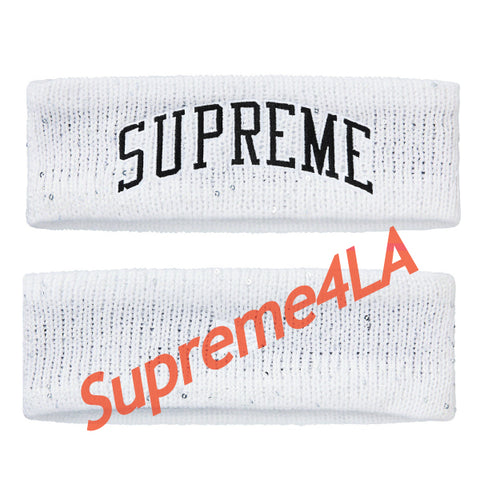 Supreme 18F/W New Era Sequin Arc Logo Headband White