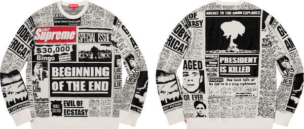 Supreme 18F/W Newsprint Sweater White