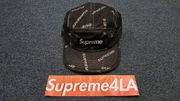 Supreme 17S/S Denim Logo Camp Cap Black