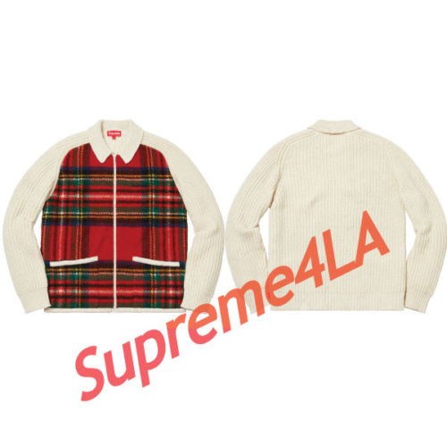 Supreme 18F/W Plaid Front Zip Sweater Off White