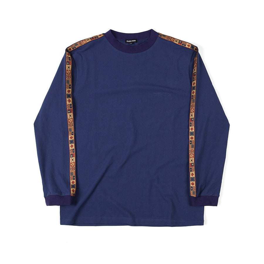 "PASS-PORT ""INTERNATIONAL EMBROIDERY RIBBON"" L/S TEE NAVY"