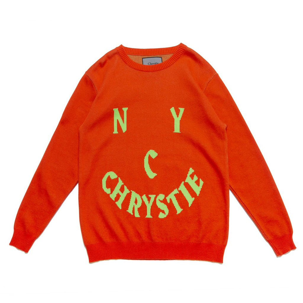 CHRYSTIE SMILE LOGO KNIT SWEATSHIRT ORANGE