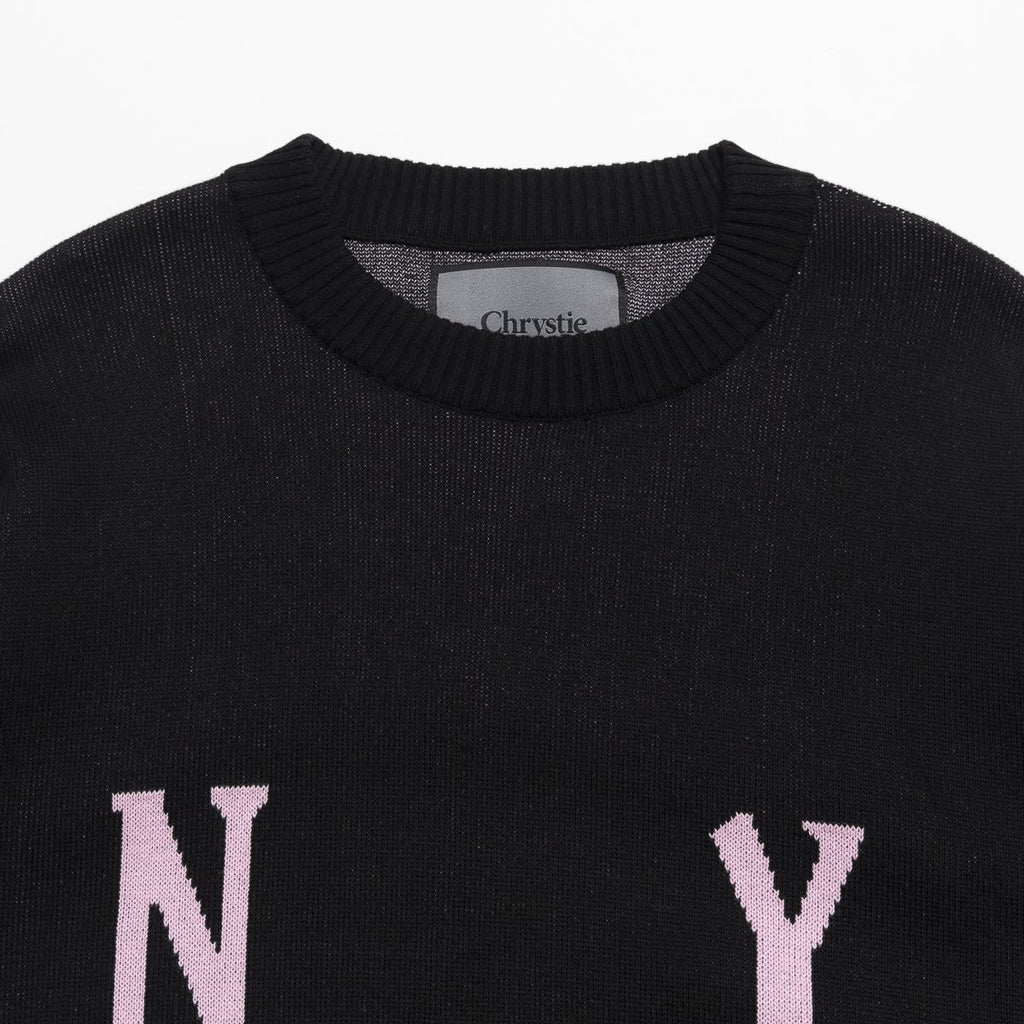 CHRYSTIE SMILE LOGO KNIT SWEATSHIRT BLACK