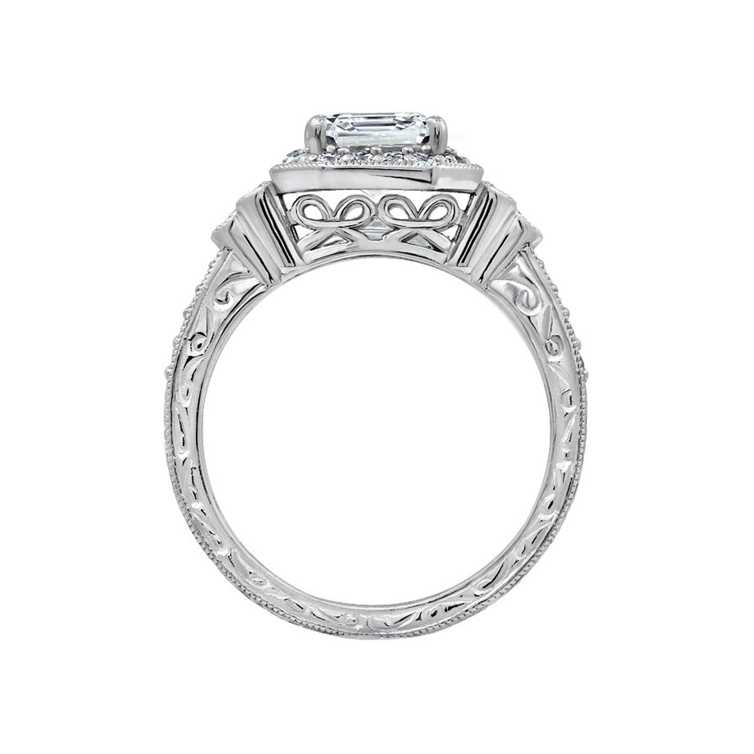 780256742 ... Load image into Gallery viewer, Platinum or Gold Plated Sterling Silver  Swarovski Zirconia Antique Ring ...