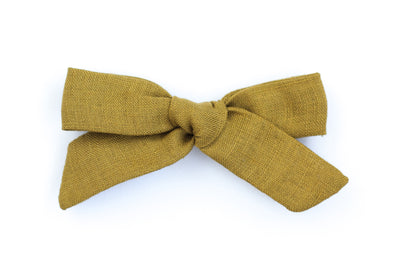 MUSTARD LINEN | MAXI Bows for babies, toddlers & kids | Kids Clothing and Accessories | La-Bel