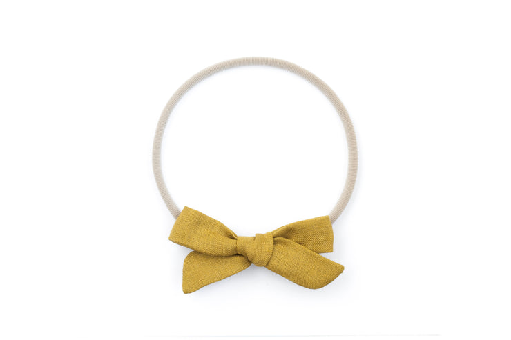 MUSTARD LINEN | MINI Bows for babies, toddlers & kids | Kids Clothing and Accessories | La-Bel
