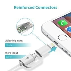 ROMOSS 2IN1 USB-A TO LIGHTNING|MICRO USB 1M CABLE WHITE - Platinum Selection