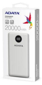 Adata - P20000QCD 20000mAh (74Wh) Power Bank - White