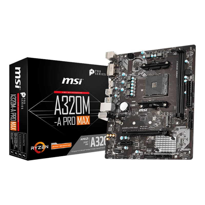 MSI A320M PRO-A MAX AMD AM4 m-ATX Gaming Motherboard - Platinum Selection