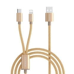 ROMOSS 2IN1 USB TO LIGHTNING|TYPE C 1.5M CABLE GOLD - Platinum Selection