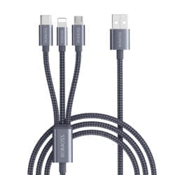 ROMOSS 3IN1 LIGHTNING CHARGE SYNC|MICRO USB |TYPE C TO USB 1.5M CABLE SPACE GREY - Platinum Selection