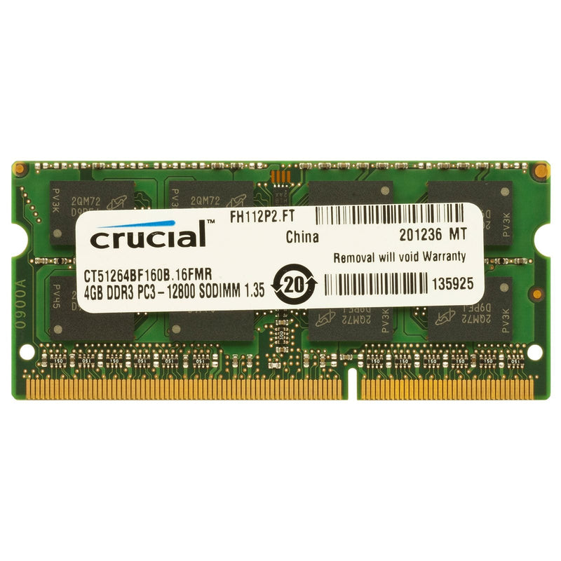 Crucial 4GB DDR3L 1600MHz SO-DIMM Single Rank - Platinum Selection