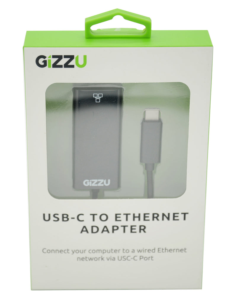GIZZU USB-C to Ethernet 10/100m Adapter Black - Platinum Selection