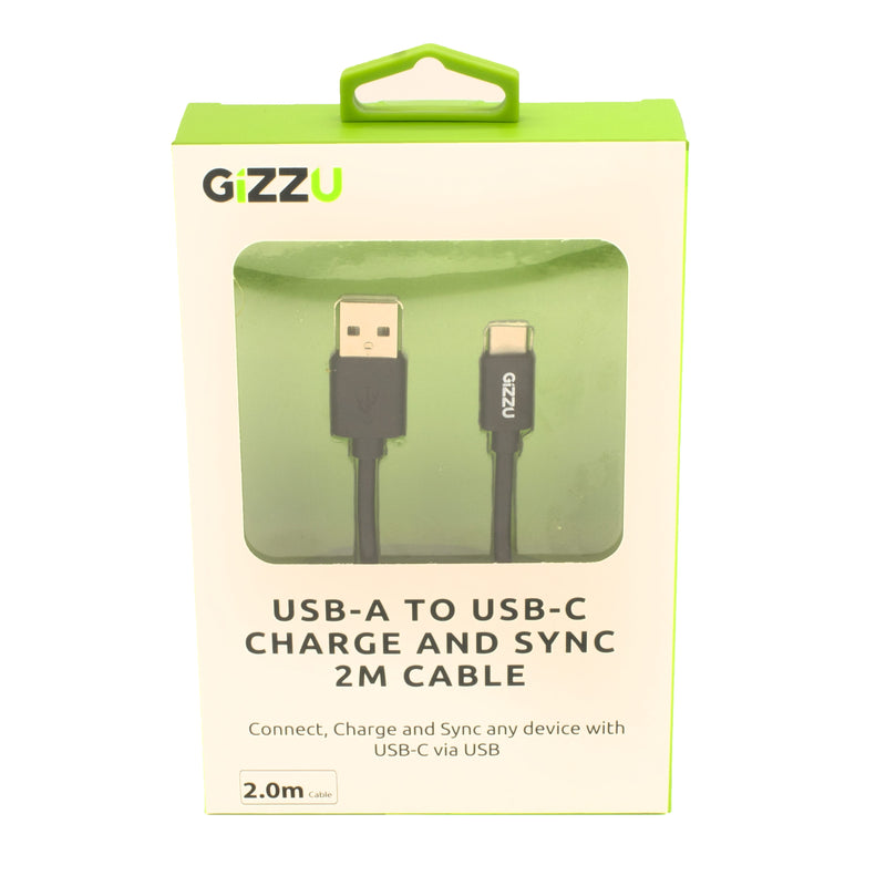 GIZZU USB2.0 A to USB-C 2m Cable Black - Platinum Selection