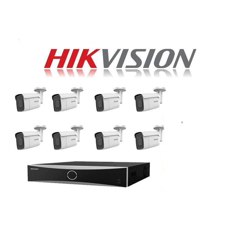 Hikvision ACUSENSE 4MP IP camera kit - 16ch 4K NVR - 8 x 4MP IP cameras - 2TB HDD - 100M cable - 80M Night vision - Platinum Selection