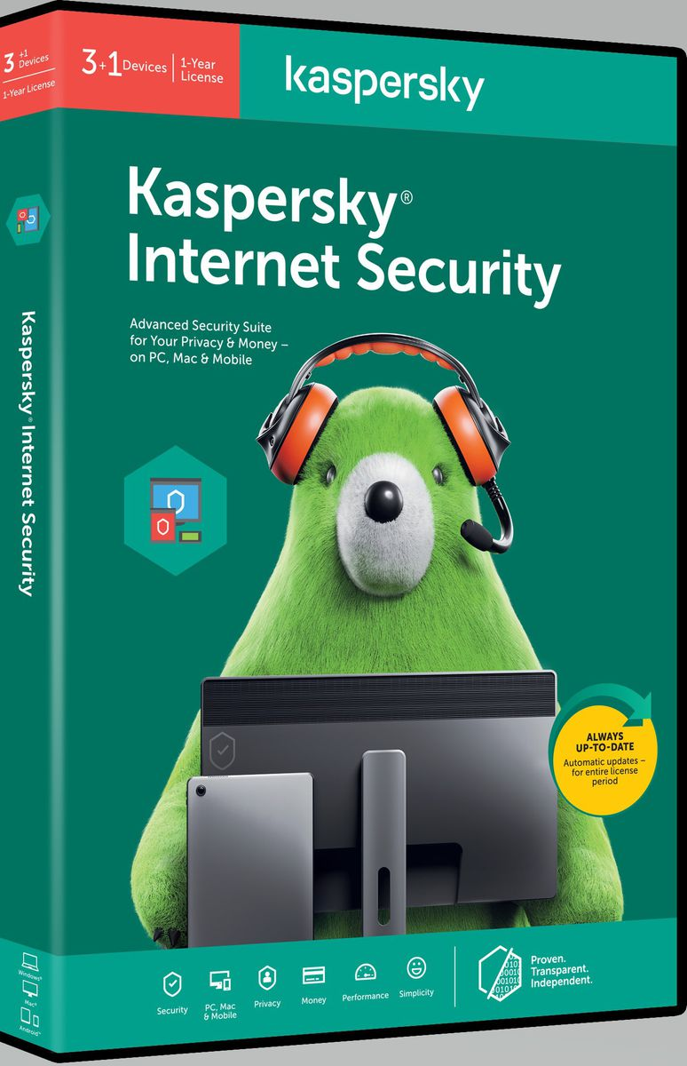 Kaspersky 2020 Internet Security 3+1 DEV, 1 year DVD