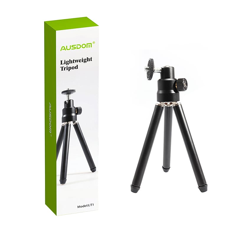 AUSDOM LT1 portable and lightweight mini Tripod for Ausdom webcam. Adjustable hight metal legs and rubber feed. Metal ball head for 360 degree rotation and 90 degree tilt