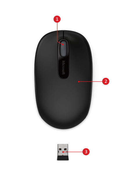 Microsoft Wireless Mobile Mouse 1850 Black for Business 7MM-00002