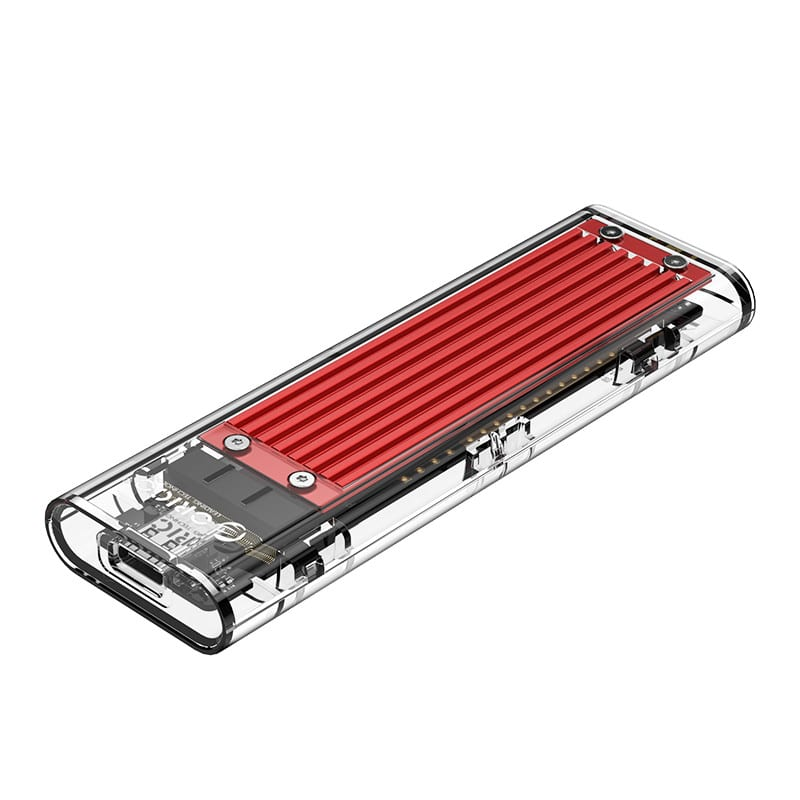 Orico M.2 NVME (2230/2242/2260/2280) to USB3.1(Device Input) Gen-2 Type-C(Enclosure Side) Transparent SSD Enclosure (2TB Max) - Red Heatsink (Compatible with CTA2-SV/CTA2-GR) - Platinum Selection