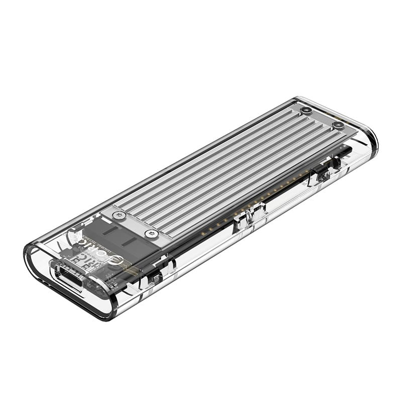 Orico M.2 NVME (2230/2242/2260/2280) to USB3.1(Device Input) Gen-2 Type-C(Enclosure Side) Transparent SSD Enclosure (2TB Max) - Silver Heatsink (Compatible with CTA2-SV/CTA2-GR) - Platinum Selection
