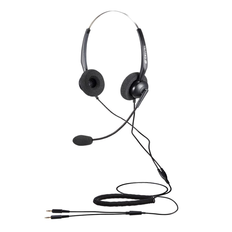 Calltel T800 Stereo-Ear Noise-Cancelling Headset - Dual 3.5mm Jacks
