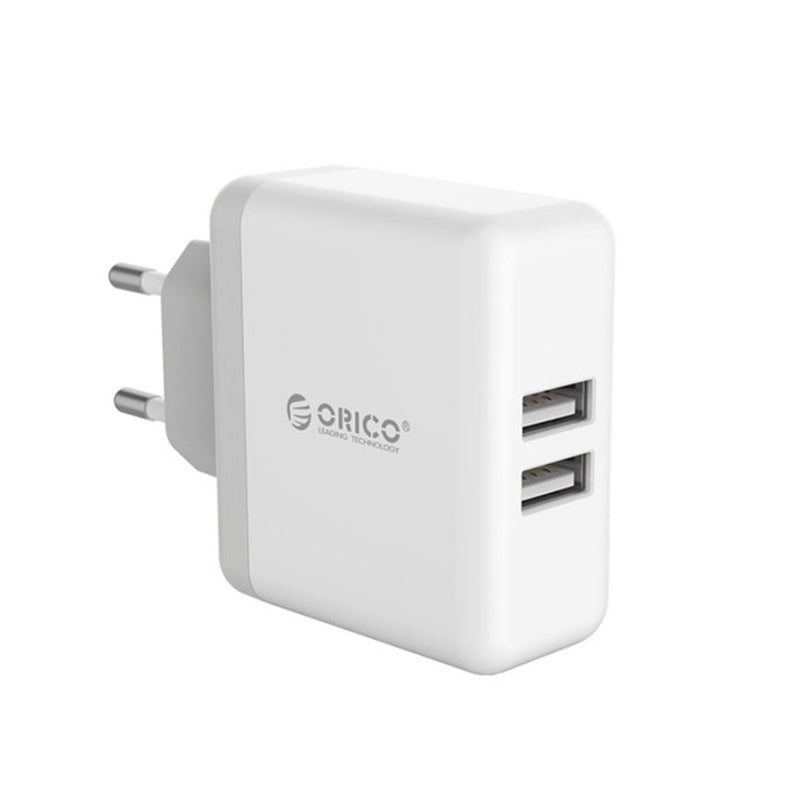 Orico 2 Port 5V 2.4A Each Port Wall Charger - White - Platinum Selection