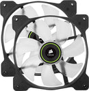 Corsair SP140 Green LED 140mm Low Noise High Pressure LED Fan Dual Pack - Platinum Selection