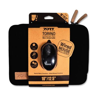 "Port Designs Torino Skin Sleeve and Mouse Bundle for 12.5"" Notebooks (Black)"