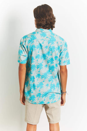 QSSS/ARTISTRY IN MOTION/MASSIVE LLC GEN-Men's Palm Print Short Sleeve Button Down