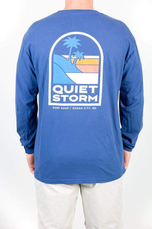 QSSS/COMFORT COLORS Unisex CHINA BLUE / S Island Stripe Long Sleeve Tee
