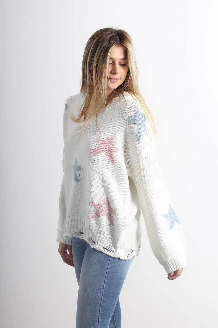 QSSS/ILLA ILLA GEN-Women's IVORY / S/M Star Print Distressed Sweater