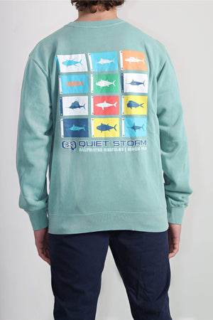 QSSS/INDEPENDENT GEN-Men's PIGMENT MINT / XS Fish Flag Pigment Dyed Crew Fleece