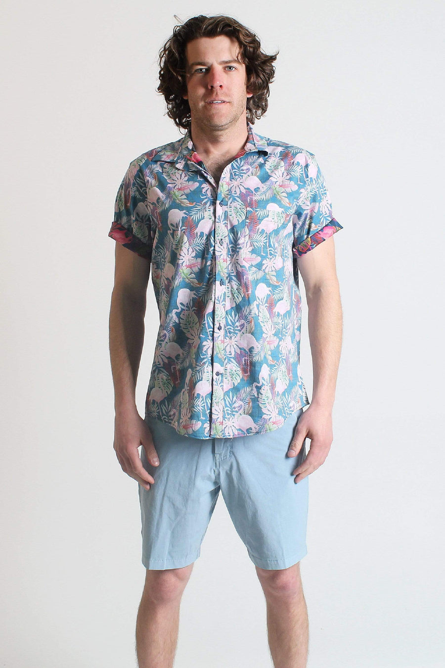 QSSS/YIWU GEN-Men's NAVY / S Flamingo Ferns Button Down