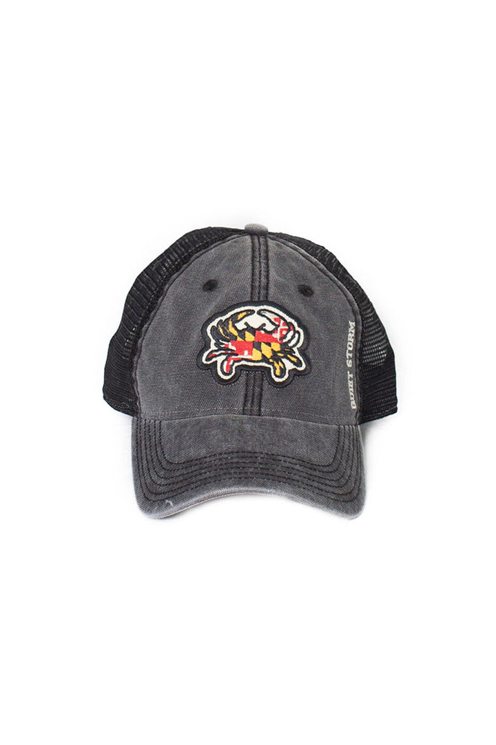 QUIET STORM/LEGACY ATHLETIC Mens Quiet Storm Black Md Crab Trucker Hat