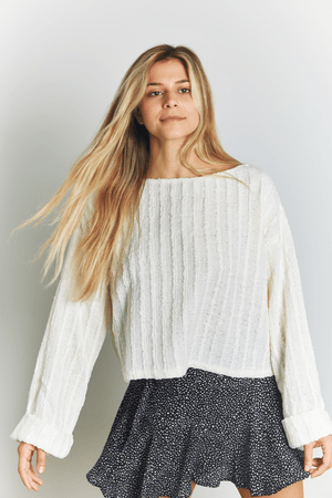 SADIE & SAGE GEN-Women's VANILLA / S Like a Dream Wide Neck Sweater