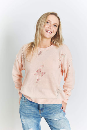 Womens crochet lightening bolt sweater - Quiet Storm Surf Shop
