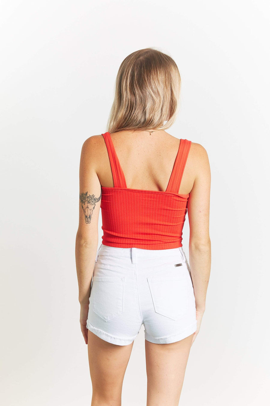 SUZETTE COLLECTION Womens RIBBED SQUARE NECK CROP TOP