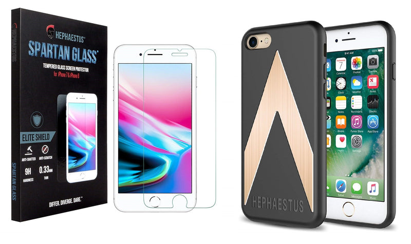 Spartan Glass 9H Tempered Glass Screen Protector for iPhone 7 & iPhone 8 with FREE Sentinel Series Case (Bundle) - Hephaestus UK